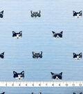 Doodles Cotton Spandex Interlock Knit Fabric-Blue Stripe Kitties