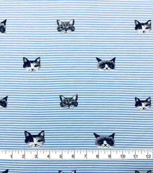 Doodles Cotton Spandex Interlock Knit Fabric-Blue Stripe Kitties