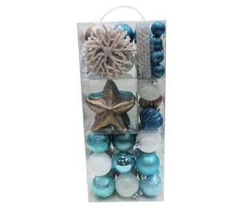 Handmade Holiday Christmas Frosty Seas 76 pk Ornaments in Suitcase