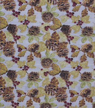 Harvest Cotton Fabric-Pinecone Berry On Wood