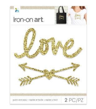 Momenta Love & Arrows Glitter Iron-on Art-Gold