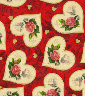 Valentine's Day Fabric -Roses with Metallic Vintage Hearts