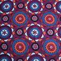 Silky Crepe Fabric-Multi Kaleidoscope on Purple