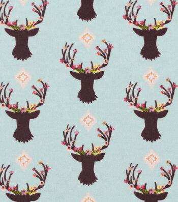 "Nursery Flannel Fabric 42""-Stag Head"