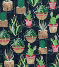 Novelty Cotton Fabric-Hanging Cactus in Pots