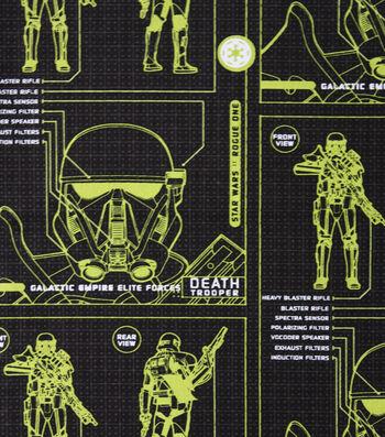 "Star Wars™ Rogue One Cotton Fabric 44""-Death Trooper Blueprint"