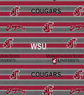Washington State University Cougars Fleece Fabric -Polo Stripe