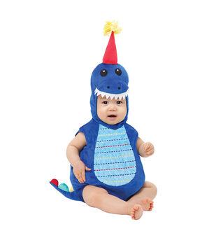 Maker's Halloween 6-12 months Infant Dinosaur Romper Costume-Blue & Red