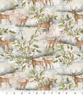 Christmas Cotton Fabric-Winter Scene with Deer