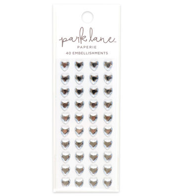 Park Lane 40 pk Heart Gem Embellishments-Clear