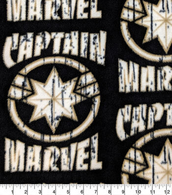 Captain Marvel Fleece Fabric-Logo with Distress
