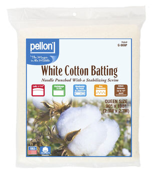 Pellon White Cotton Batting-Queen