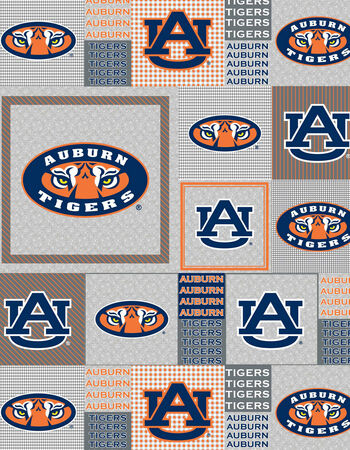 Auburn University Tigers Fleece Fabric -Gray Block