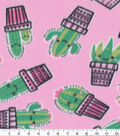 Blizzard Fleece Fabric-Pink and Green Cacti