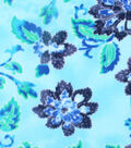 Anti-Pill Fleece Fabric 59\u0022-Peacock Flowers And Leaves