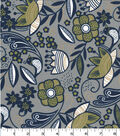 Quilter\u0027s Showcase Cotton Fabric-Floral Birds & Dots on Gray