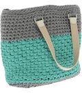 Hoooked Valencia Bag Kit with Ribbon XL Yarn-Stone Gray & Mint