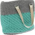 Hoooked RibbonXL Valencia Bag DIY Crochet Kit-Stone Gray & Mint