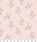 Nursery Flannel Fabric -Dots & Deer on Pink