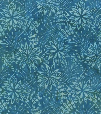 Legacy Studio Indonesian Batiks Cotton Fabric -Teal Florals