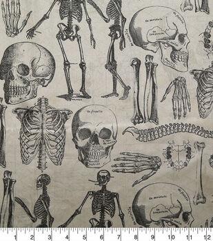 Halloween Spirit Satin Fabric-Skeleton & Skull Print