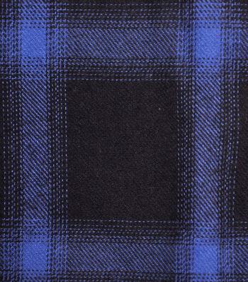 Cotton Shirting Fabric 42''-Black & Blue Ombre Plaid