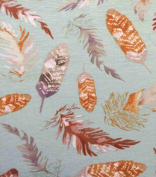 Knit Fabric 57''-Feathers on Aqua