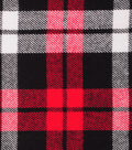 Plaiditudes Brushed Cotton Fabric-Red, White & Black Square Plaid