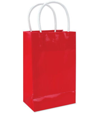 Clay Coated Gift Bag W/White Handle Small-12PK MANY COLORS