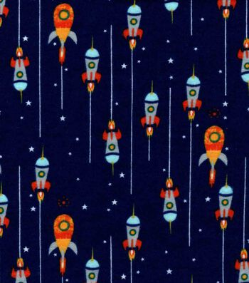 Nursery Flannel Fabric 42''-Outerspace & Rocket Ships on Navy