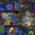 Disney Beauty & The Beast Cotton Fabric -Stained Glass