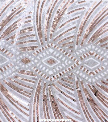"""Deco Design Sequin Fabric 52""""-Silver and Rose"""
