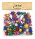 Tinsel Pom Poms, Assorted Sizes & Bright Colors, 100pc