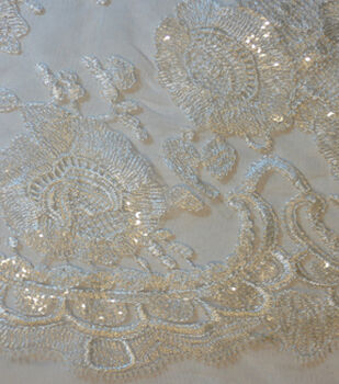 Save The Date Shine Lace Veil Fabric -Eggnog