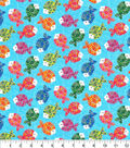 Novelty Cotton Fabric-Rainbow Fishies Glitter