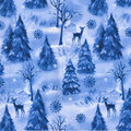 Christmas Glitter Print Fabric -Winter Frost
