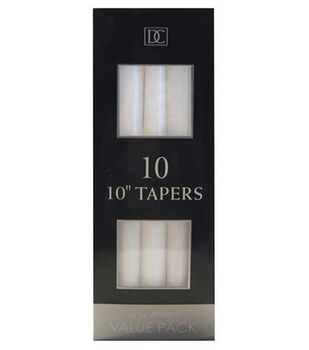 "Hudson 43 Candle & Light Collection 10pk 10"" Unscented Taper Candles-White"