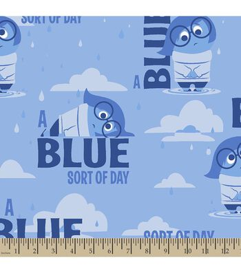 "Disney PIXAR Inside Out Print Fabric-Sadness ""A Blue Sort Of Day"""