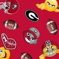 University of Georgia Bulldogs Fleece Fabric -Emoji