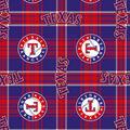 Texas Rangers Fleece Fabric -Plaid