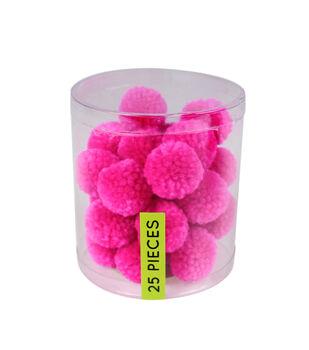 Fab Lab Yarn Pom Poms 25/Pkg-Pink