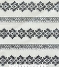 Linen-Look Embroidered Fabric -Stripe Floral