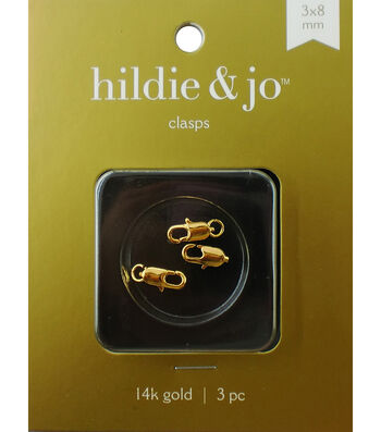 Cousin 3x8mm Gold Elegance Lobster Clasp-3PK/14K Gold Plated