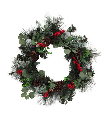 Blooming Holiday Christmas 24'' Eucalyptus, Pine & Berry Wreath