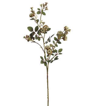 """Bloom Room 30"""" Pompon Rose Spray-Old Gold"""