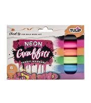 Tulip 6 pk Graffiti Chisel Tip Fabric Markers-Neon, , hi-res