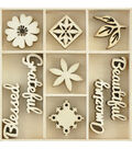Kaisercraft Themed Mini Wooden Flourishes 45/Pkg-Beautiful