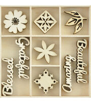 Kaisercraft Themed Mini Wooden Flourishes 45/Pkg-Beautiful, , hi-res