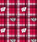 University of Wisconsin Badgers Fleece Fabric 58\u0022-Plaid