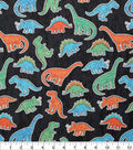 Novelty Cotton Fabric-Cut-out Dinos on Black